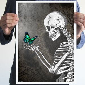 The skeleton butterfly,art,digital print,poster,gothic,skull,artwork,black & white,gift ideas,home decor,wall decor