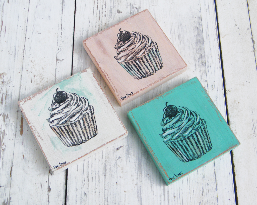 Rustic Kitchen Decor, Miniature Paintings, Set of 3 Cupcakes art ...