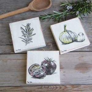 Food Art, Miniature Paintings, Set of 3, Rustic Kitchen Decor, Kitchen Wall Art, Country Chick, Farmhouse Decor