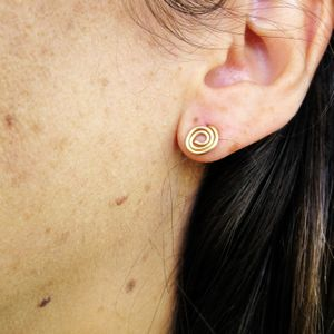 Gold Spiral Earrings, Stud Spiral Earrings, Gold Post Earrings, Gold Filled Earrings, Circle Earrings,