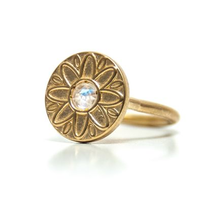 Gold plated ring with gem, Flower gold ring, Rainbow moonstone ring, Disc ring, Solitaire ring, Moonstone engagement rin