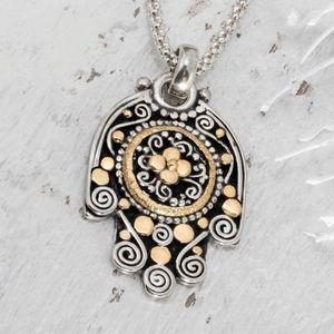 Hamsa Necklace, Lucky Charm Pendant, Designer Hamsa, Handmade Jewelry, Gold Hamsa Necklace, Christmas Gift