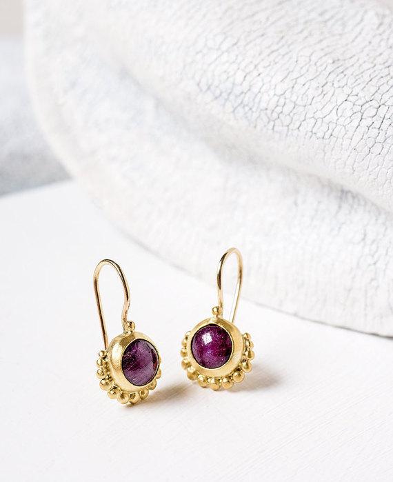 Ruby Gold Earrings, 22k Gold Earrings, Gift For Her, Ruby Earrings, Dangle Gold Earrings, Ruby Jewelry, Fine jewelry