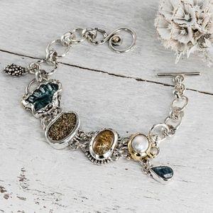 Blue tourmaline, Pyrite, Kyanite, Rutile quartz, Pearl bracelet, Silver Bracelet, Natural Gemstones, Fine Jewelry, 22k G