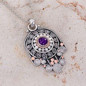 Silver Amethyst Necklace, Silver Hamsa Necklace, Hand of Fatima, Filigree jewelry, February Birthstone, Kabbalah Jewelry