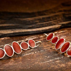 Sterling Silver Resin Earrings, Red Earrings Sterling Silver, Modern Resin Jewelry, Long Earrings, Silver Dangle Earring