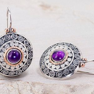 Amethyst Earrings, Ethnic Earrings, Sterling Silver Earrings, Gemstone Earrings, Purple Earrings, Filigree Earrings