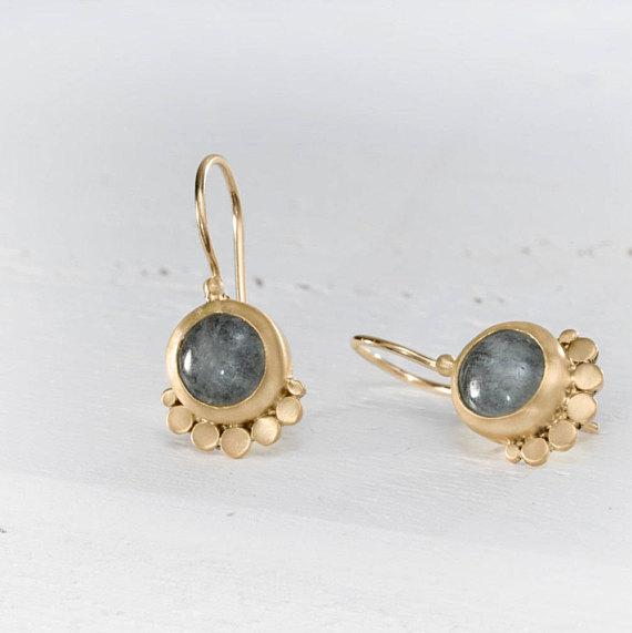 22k Aquamarine Earring, Dangle Earrings, Gemstone Dangle Earrings, solid Gold Earrings, Wedding Earrings