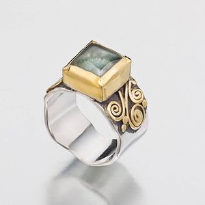 Aquamarine Ring in Sterling Silver and 22K gold, Square Gemstone, Gemstone Ring, 22K Gold Ring, March Birthstone Ring
