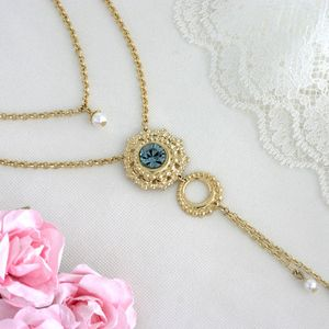 Double strand necklace, gold layered necklace, gold double necklace, blue crystal necklace, evening jewelry