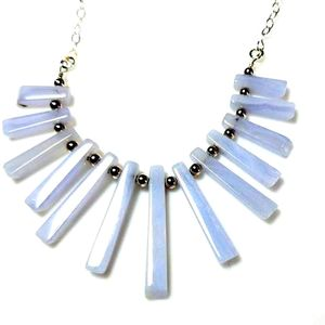 Blue Lace Agate Gemstone Mini-Fan Pendant Necklace with Sterling Silver Chain