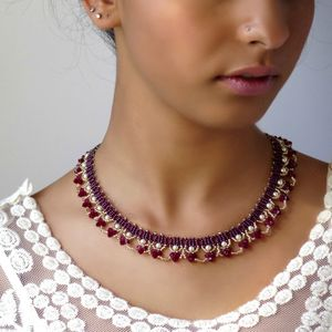 Swarovski pearl and crystal necklace, Statement Red beaded necklace, Burgundy special occasion jewelry, fashion necklaces for women