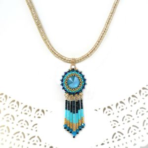 Turquoise and gold fringe necklace for women, Beaded tassel pendant necklace, Swarovski crystal boho chic necklace, Tribal style necklace