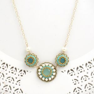 Turquoise & Pearl Flower Romantic Gold filled necklace pendant