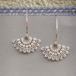 Swarovski pearl earrings for wedding party, Bridal statement earrings, Long bridal earrings gold, Fan earrings for bride