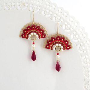 Red unique dangle earrings, Swarovski crystal and pearl beaded fan earrings, Unusual earrings, Gift for women