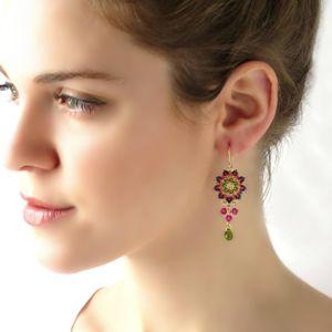 Dangle earrings women, Swarovski crystal beaded earrings, Boho chandelier earrings, Green drop earrings, Colorful earrings, Gift for wife