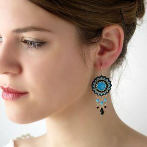 Bohemian Turquoise Chandelier Fashion Drop Beaded Earrings