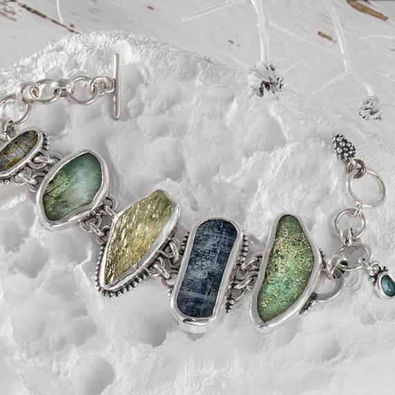 Sterling silver large stone bracelet, Handcrafted Sterling Silver Bracelet, Natural Stone jewelry, 925 Silver Gemstone Statement Bracelet