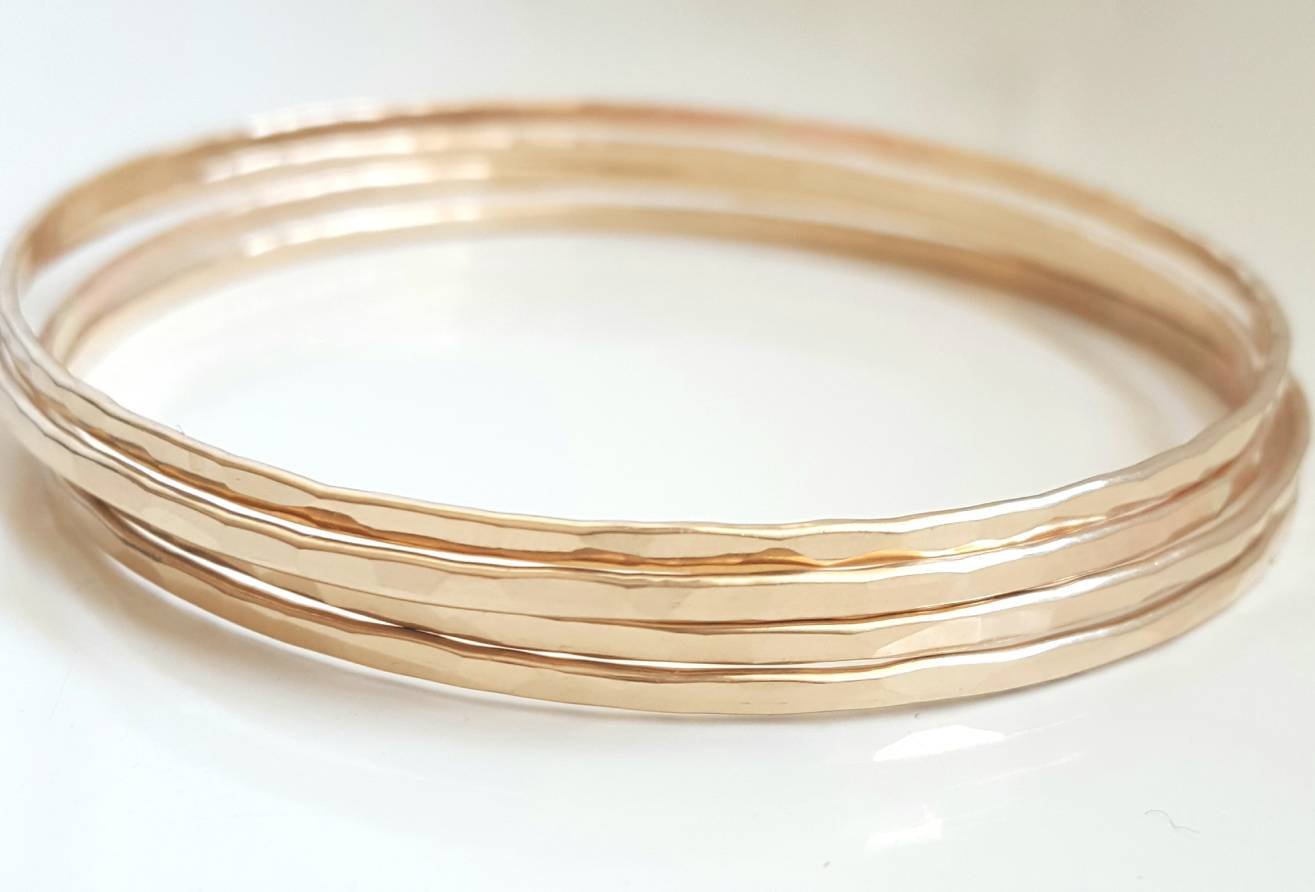 3mm Wide Gold Filled Bangle Bracelet - 14K Yellow Gold Filled - Simple Classic Everyday Jewelry - Stacking Bangle - Bridesmaid gift