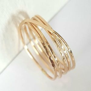 Gold Wrap Ring - 14K Gold Filled Wraparound Ring - Gold Stack Ring - Infinity Gold Ring - Gold Filled Hammered Ring - Triplet & Double Rings