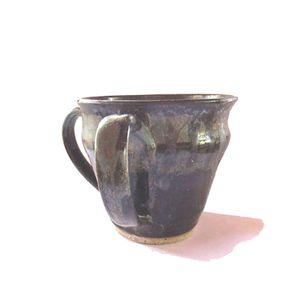 Vintage handmade blue and brown unique handmade 2 handles pottery planter plant holder