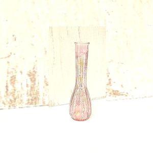 Small long neck colorful transparent blue purple glass bud vase