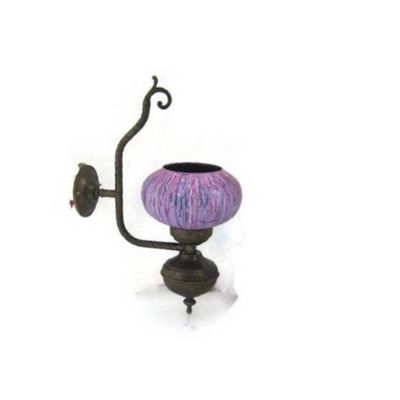 Copper wall lamp light vintage with purple painted glass lampshade, REWIRED, WORKING