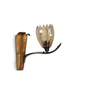 Flower WORKING vintage wall lamp light. Copper leaves with a FLOWER shaped glass lampshade.
