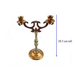 Ornate 2 ARM wood and brass 1973 CANDELABRA. Shabby chic white painted candelabra. 25 years anniversary gift.