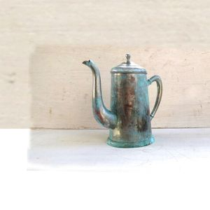 Tall vintage silver plated copper kettle teapot tea kettle with blue copper patina