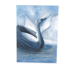 Movie surreal Black swan oil on canvas painting. Original one of a kind.
