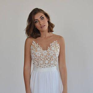 Boho wedding dress, embroidery top on a sheer mesh, open back wedding dress
