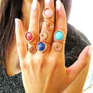 Boho Jade Rings, Spiral Copper Ring, Wire Wrapped Ring, Gemstone Ring, Hand Made Jewelry, Pink Ring, Unique Rings,