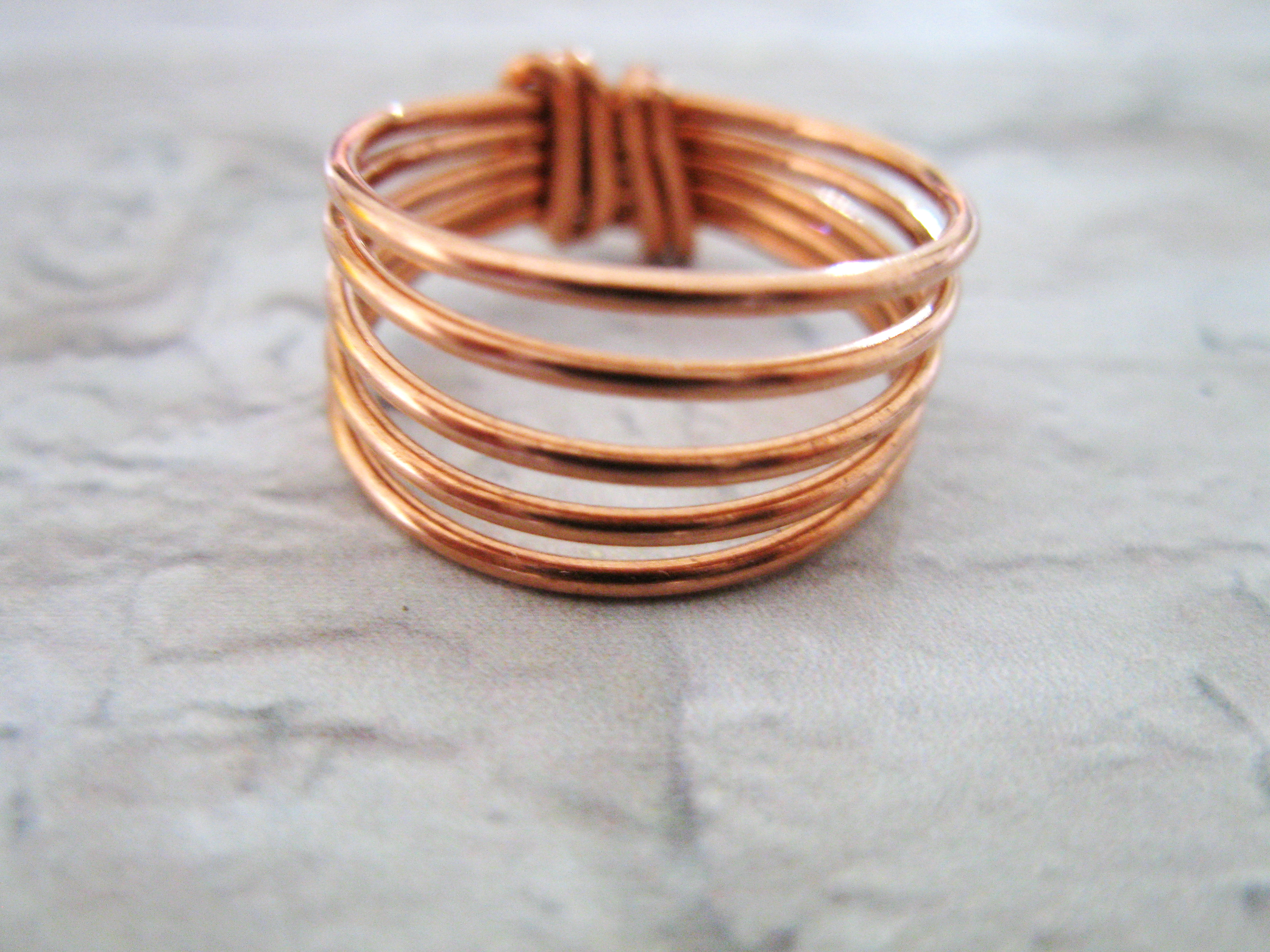 Copper Chunky wrapped wire ring, Ring for Women, Spiral Stacking ...