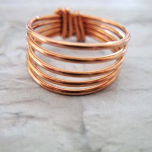 Copper Chunky wrapped wire ring, Ring for Women, Spiral Stacking Rings, Handmade Jewelry, Dainty ring, Gift for Mom,