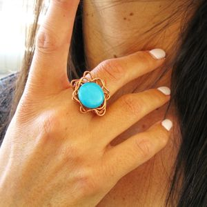 Turquoise Howlite Flower Ring, Turquoise Ring, Copper Ring, Buho Ring, Turquoise Ring, Wire Wrapped Ring, Chunky Ring,