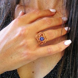Copper ring, Birthday ring, Birthstone ring, Sapphire ring, Wire wrapped ring, Mother's day gift, Unique Ring,