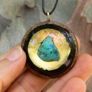 Chrysocolla & 24K Gold Orgone Energy pendant/Energy Generator/healing jewelry/Emf protection/Orgone pendant for woman/luck amulet/crystals