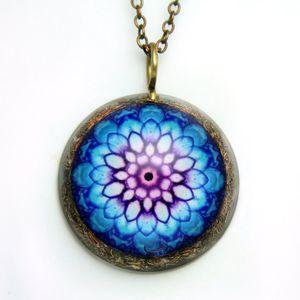 Blue harmony mandala orgone pendant/EMF protection/Orgone energy pendant/mandala chain /sacredgeometry/healing jewelry/Emf protection