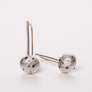 Silver earrings, Long dangel earrings, Black diamonds earrings, Drop silver earrings, Bridal earrings, Geometric earrings, Gift for her