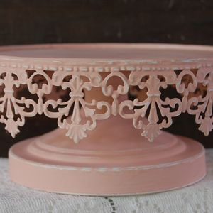 Cake Stand, Hand Painted, Shabby Chic, Dusty Rose, Pink, Cupcake Stand, Upcycled, Filigree, Wedding, Shower, Party Decor, Pastry Stand, Custom Color