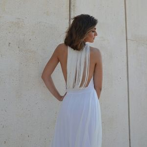 Alternative wedding dress, open back dress, low back wedding dress, fringe back wedding dress, boho wedding dress, unique wedding dress