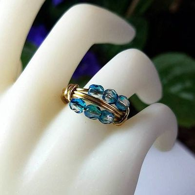 Blue Multistone Wire Wrapped Ring - Aqua Beaded Ring - Custom Gold or Silver Plated Band - Personalized Size 4 5 6 7 8 9 10 11 12 13 14 15