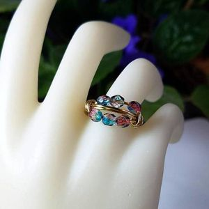 Wire Wrapped Multistone Ring - Multicolor Beaded Ring - Gold Wire Jewelry - Silver Band Ring - Size 4 5 6 7 8 9 10 11 12 13 14 15