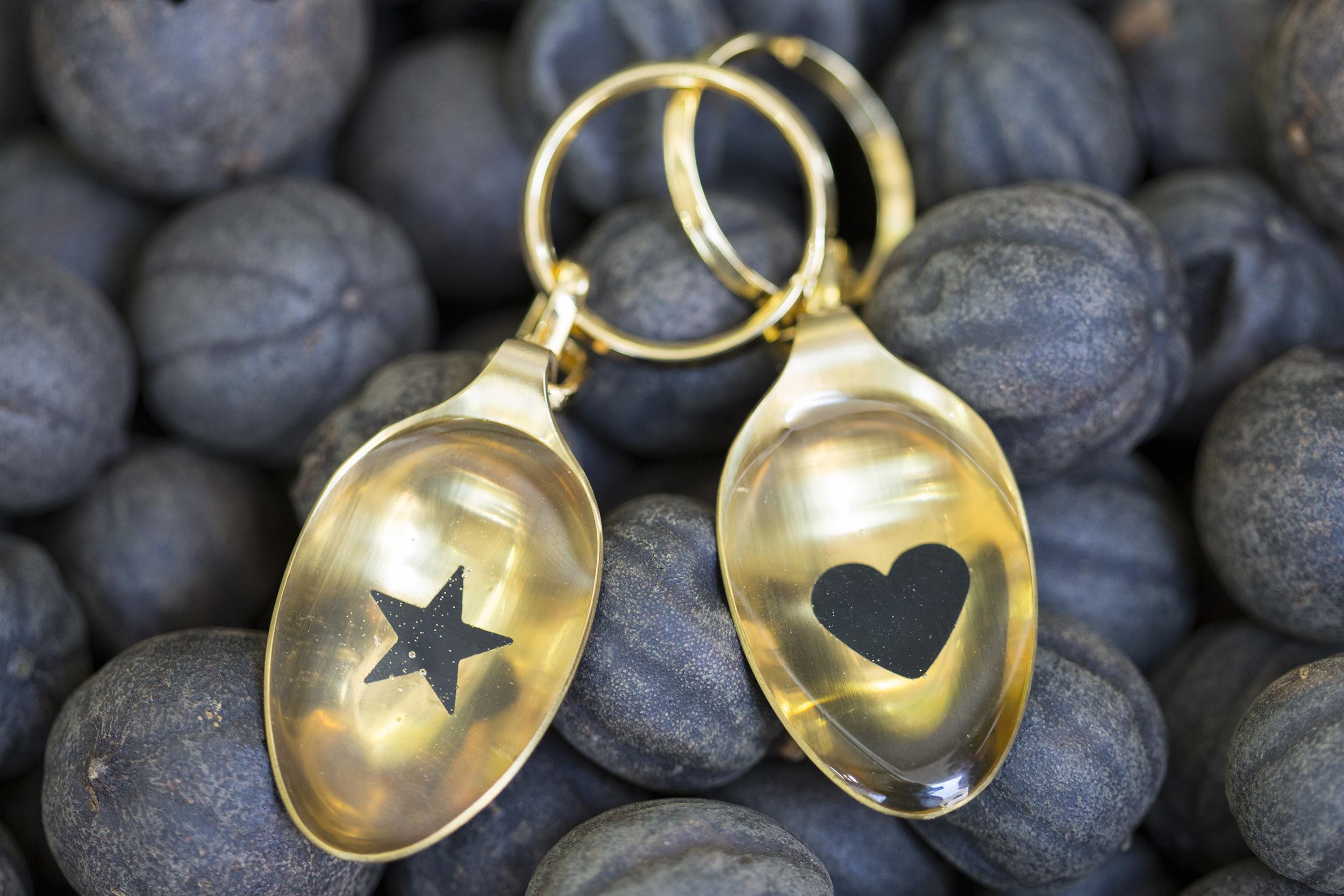 Golden Teaspoon keychain, teaspoon heart shape keyholder