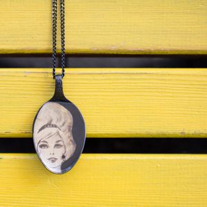 Unique spoon pendant, black spoon with a women figure , statement necklace, retro style, spoon necklace, madmen lovers gift, vintage style.