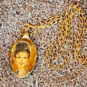 Unique teaspoon pendant, golden teaspoon, women figure necklace, statement necklace, retro style, spoon necklace, madmen lovers gift, vintage style.