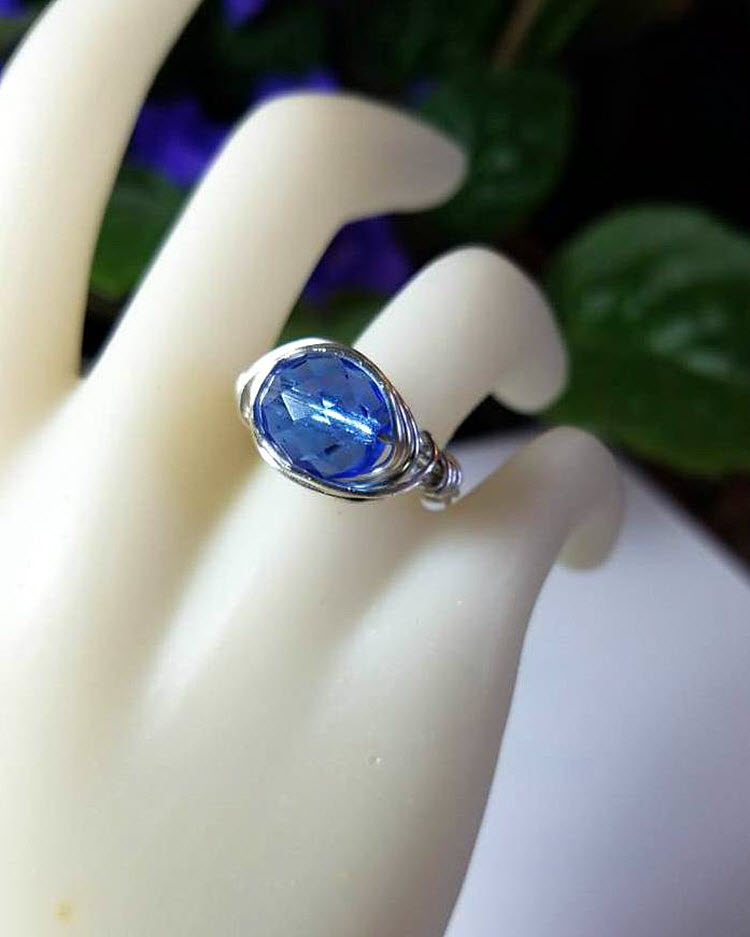 howlite size 7 ring Silver wire wrapped