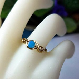 Blue Wire Wrapped Midi Ring, Gold Wire Jewelry, Custom Size Ring, Faceted Turquoise Crystal Ring, Rings for Women